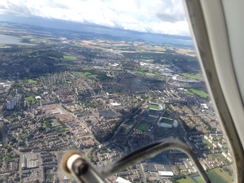 view of Dundee from aeroplane
