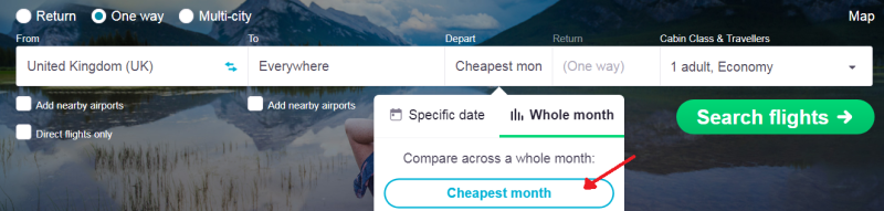 how to travel cheap- skyscanner diagram